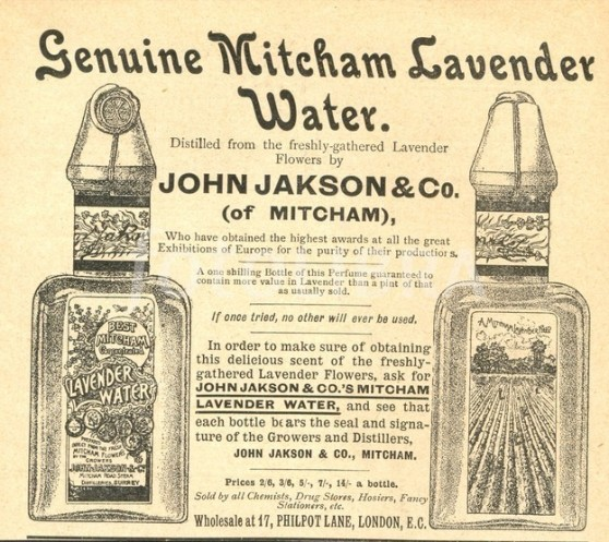 Advertisement for Mitcham Lavender Water circa 1895