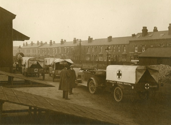 Medical trailers of 1st Southern General Hospital waiting for co
