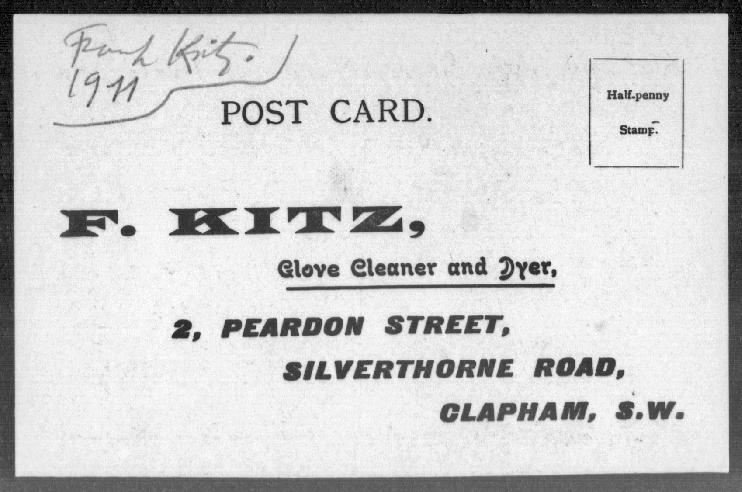 1911 Kitz glove cleaner post card address -2 Peardon St