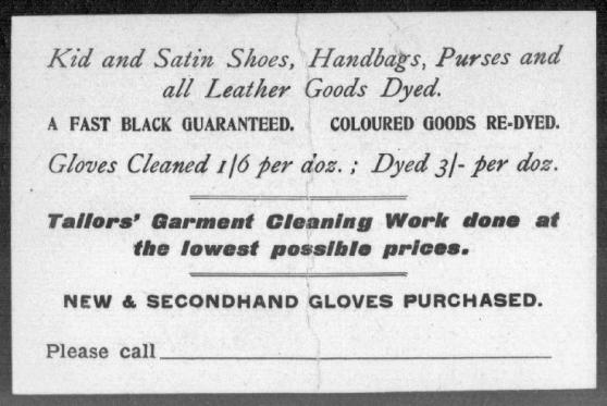 1911 Kitz glove cleaner post card reverse